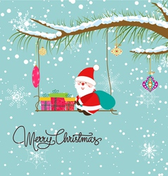 Merry christmas card with santaclaus and gift vector image