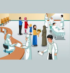Muslim hospital scene vector