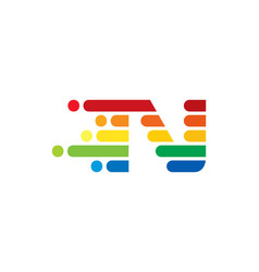 n colorful letter speed pixel logo icon design vector image