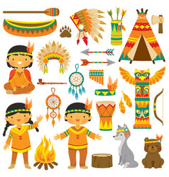 Native american kids clip art set vector