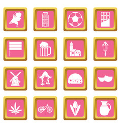 netherlands icons pink vector image