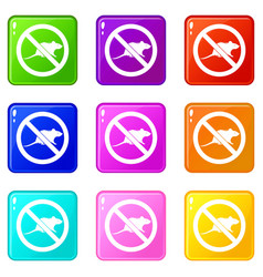 No rats sign icons 9 set vector