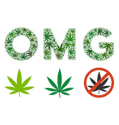 Omg text composition of weed leaves vector