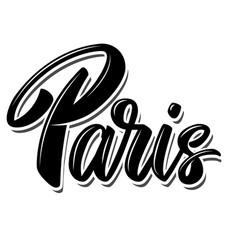 paris capital france lettering phrase on white vector image