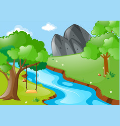 park scene with swing on the tree by the river vector image
