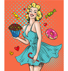 Pin up happy woman with sweets vector