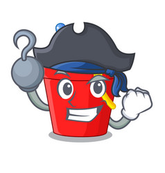 Pirate beach bucket shape with sand cartoon vector