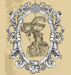 pirate captain portrait in frame 1 vector image