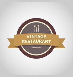restaurant vintage badge style vector image