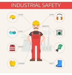 Safety industrial gear kit and tools set flat vector image