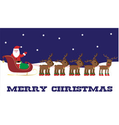 Santa and reindeer banner vector