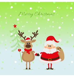 Santa Claus with a deer with Christmas tree vector image