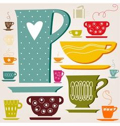 set color cup vector image