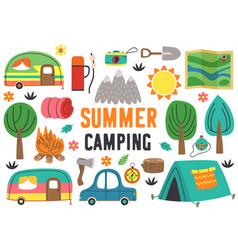 Set isolated summer camping elements part 1 vector