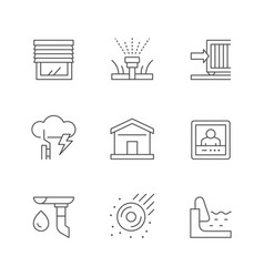 Set line icons house systems vector
