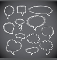 Set of hand-drawn speech and thought bubbles vector