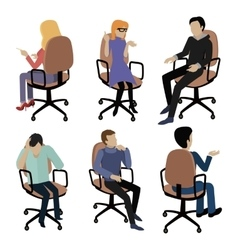 Set of People Sitting Man and Woman at Work vector