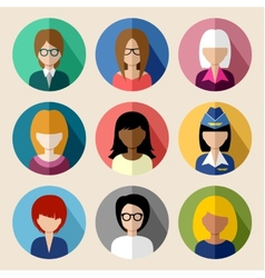 Set of round flat icons with women vector image