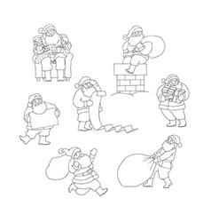 set santa claus in different situations vector image