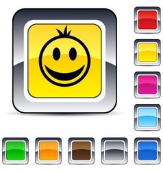 smiley square button vector image