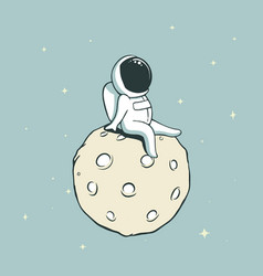 Spaceman on moon vector
