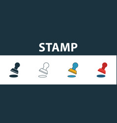 stamp icon set four elements in diferent styles vector image