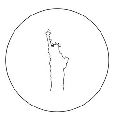 statue of liberty icon black color in circle vector image