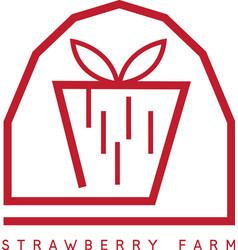 Strawberry farm simple icon design template vector