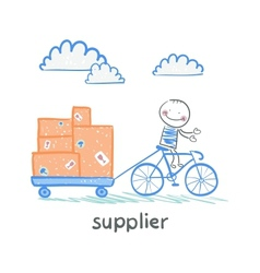 Supplier supplier rides a bike with a cart of vector