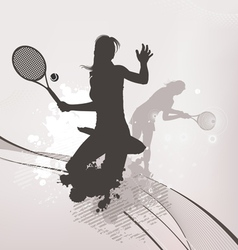 tennis girl background vector image