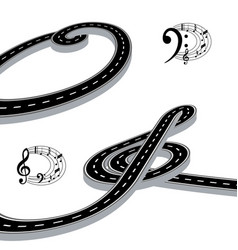 the road is stylized in the form of a violin and vector image