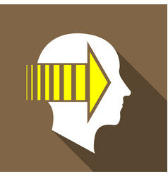 Thinking brain icon flat style vector