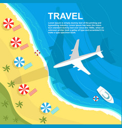 Top view of airplane flying over seashore vector