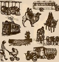 Transportation - An han drawn pack vector