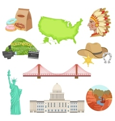 USA National Symbols Set vector image
