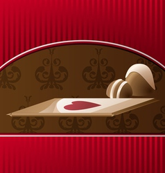 Valentines card with chocolate vector image