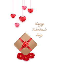 valentines day greeting card design in 3d style vector image