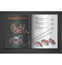 Vintage sushi restaurant menu vector