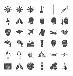 virus solid web icons vector image