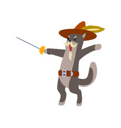 Warlike musketeer cat character fighting with vector