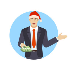 welcome businessman with money showing something vector image