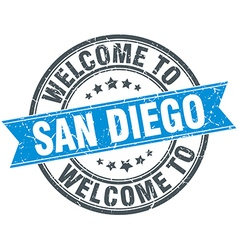 Welcome to San Diego blue round vintage stamp vector
