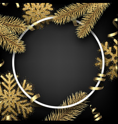 winter background with fir branches and snowflakes vector image