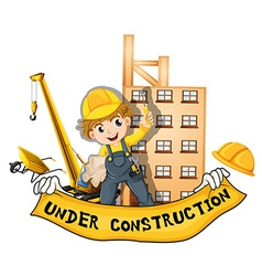 Worker working at the construction site vector image