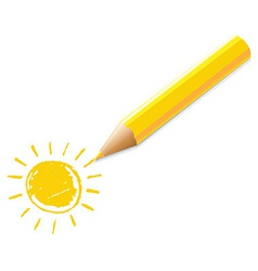 Yellow Pencil With Drawing vector image