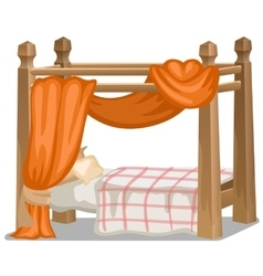 Bed with orange canopy Interior items isolated vector image vector image