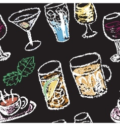 Hand drawn cocktail menu elements Seamless pattern vector image