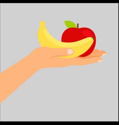 hand holding banana and apple vector image