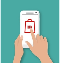 Hand holding smart phone with buy button vector