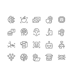 Line Artificial Intelligence Icons vector image vector image